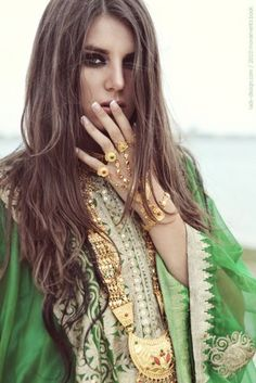 beautiful, ethnic, fashion, gold, green - inspiring picture on Favim ...