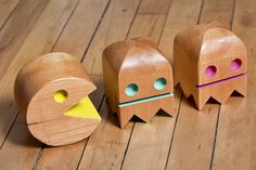 Pac-man toys made from salvaged old growth doug fir by Oh Dier.
