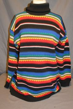 Women's Heavy Turtle Neck Sweater Size S Multi Colored Tacky Ugly Christmas #Class955 #TurtleneckMock