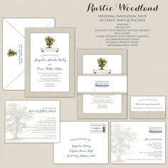 Rustic Woodland Wedding Invitation Oak Tree Wedding Invitations Invites Invite linen burlap Navy Blue Monogram Belly Band Elegant Textured