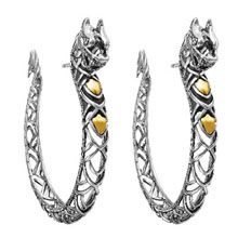 John Hardy Sterling Silver And 18k Yellow Gold Large Naga Dragon Hoop Earrings Lux Bond Green Pinterest Bling Jewelry