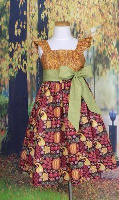 Fall Long Sleeve Dress Long Sleeve Twirl Dress Sunflower Peplum 34 Sleeve Girls Dress Autumn Floral Twirl Dress