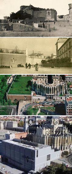 Cuesta de la Vega - 1835 - '30 s. XX - '80 s. XX - durante la construcción del Museo de Colecciones Reales (aprox. 2014) - Madrid (España).