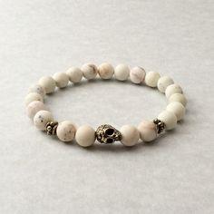 Cream & Gold Skull Bracelet day of the dead skull by foxandson