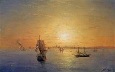 Russian Fleet at Sunset (1888)  Ivan Aivazovsky