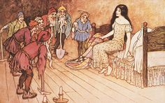 'My goodness, my goodness! they all exclaimed. What a beautiful child!' The dwarves are delighted to discover Snow White in their house. Illustration: Warwick Goble, 1923.