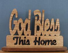 Red Oak God Bless Our Home Desk Sign Cut On by DukesScrollSaw