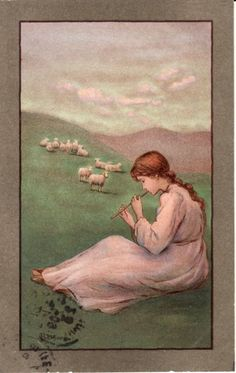 ART -- Pretty Young Girl playing Flute, Music, Sheep, 1909 postcard | Collectibles, Postcards, Art | eBay!