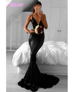 Black prom dress,mermaid prom dress,V-neck long prom gown,sequins long evening gowns Prom Dresses For Teens, V Neck Prom Dresses, Long Prom Gowns, Prom Dresses 2018, Long Evening Gowns, Prom Dresses Online, Mermaid Prom Dresses, Cheap Prom Dresses, Bridesmaid Dresses