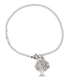75  95 316 Stainless Steel Tree of Wisdom Ankle Bracelet Anklet 2mm Curb Chain Packaged in an Organza Bag and Placed in a Pillow Gift Box *** Check out the image by visiting the link.(This is an Amazon affiliate link and I receive a commission for the sales)