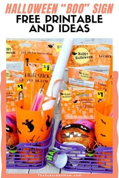 """Kids, it's trick or treat time! Halloween is all about sharing some delicious candies and scaring your neighbors! Spread the spooky happiness with these free printables. Check out the blog for more details on these Halloween """"Boo"""" Sign Free Printable And Ideas! In need of some Halloween activities? Check out the blog for some special festive ideas such as Halloween decorations, party food ideas, Halloween trinkets, Halloween crafts, Halloween activities and more! #DIYcrafts #DIYactivities Halloween Themed Food, Halloween Boo, Halloween Activities, Halloween Projects, Halloween Themes, Halloween Decorations, Easy Crafts For Kids, Diy Crafts, Boo Sign"""