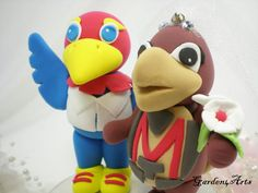 NEWCustom KU & Maryland Wedding Cake Topper  Unique by Garden4Arts, $89.00  If I were to marry someone from ku maybe they could do a male and female jayhawk!