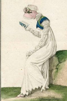 Regency lady reading. Journal des Dames et des Modes (1811). There were a limited number of genteel occupations appropriate for the Regency lady. Reading was one such unexceptional pastime - provided the book wasn't one of those shocking Minerva...