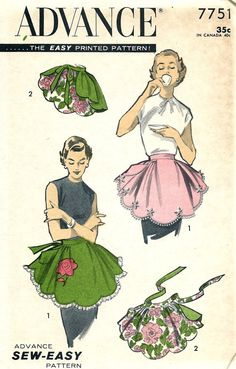 """1950s Advance Sewing Pattern 7751 - """"Sew-Easy"""" ONE-YARD APRON with Rose Transfers * One Size"""