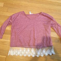 long sleeve top with cute lace pattern worn a few times but in perfect condition with 3/4 length sleeves, bought from nordstroms but brand is abound Tops