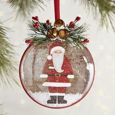 Santa Glass Disc Ornament   Pier 1 Imports