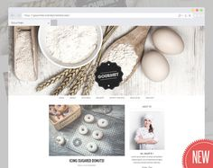 """Responsive Cooking WordPress Theme Blog """"Gourmet""""   Parallax WordPress Template with Custmizable Header   Perfect for Cooking & Baking Blogs"""