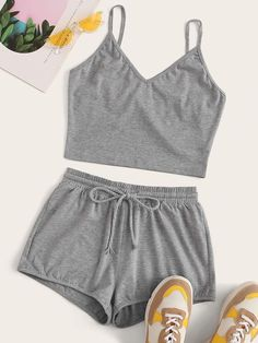 Shop Grey Cami Top & Drawstring Waist Shorts at ROMWE, discover more fashion styles online. Cute Pajama Sets, Cute Pajamas, Two Piece Dress, Two Piece Outfit, Cute Lazy Outfits, Summer Outfits, Summer Shorts, Long Shorts, Cute Shorts