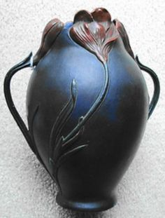 Art Nouveau handled vase, relief molded flowers, Julius Dressler, JBD castle mark, 9.5 in. high