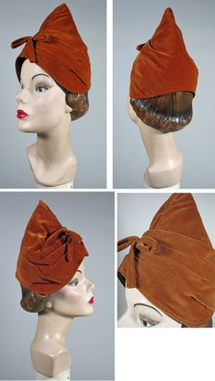 1950s Charming Pumpkin Velvet Toque Hat.