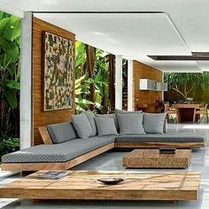 wood sofa in living room