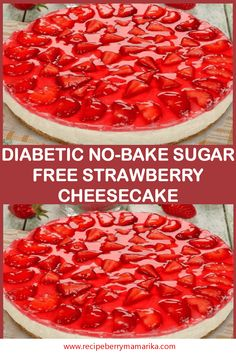 Diabetic No-Bake Sugar Free Strawberry Cheesecake Diabetiker No-Bake Sugar Free Erdbeer-Käsekuchen Sugar Free Deserts, Sugar Free Sweets, Sugar Free Recipes, Sugar Free Foods, Sugar Free Snacks, Sugar Free Cakes, Sugar Free Drinks, Diabetic Friendly Desserts, Diabetic Snacks