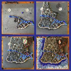 Cape May Cartography Mosaic Smalti Map Ocean Beach 50th Birthday Presents, Us Map, Cape May, Cartography, Ocean Beach, Mosaic Art, Fused Glass, Maps, Glass Art