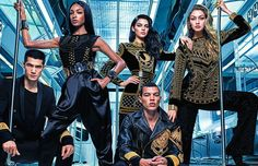Here is an advertisement for the H&M Balmain collection. This is a bold campaign that shows affordable luxury items available to be purchased. Beading and jewel toned accents as well as faux fur are some of the key components to this line. The style is a knock off to the Balmain, so now people can enjoy similar dress but without the price. A Johnson