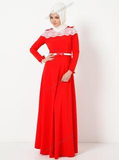 Omuzları Fiyonklu Uzun Elbise 4073 - Kırmızı - Modaysa