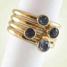Joy Everley Jewellery - Sapphire stacking rings made from 18ct yellow gold