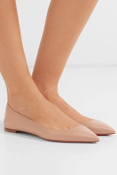 Shop the latest women's nude flats, loafers and ballerina shoes in neutral shades of beige, pink and brown. Nude Flats, Pointed Toe Flats, Leather Ballet Flats, Christian Louboutin Heels, Louboutin Shoes, Pumps, Ballerina Shoes, Jimmy Choo, Boots