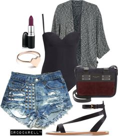 Teenage Runaway | distressed shorts, sandals, oversized cardigan, bodysuit - summer nights outfit
