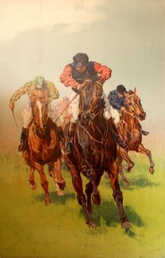 Horse Race, 1900s - original vintage horse racing poster featuring a group of jockeys in a race, listed on AntikBar.co.uk