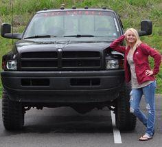 You gotta love a cummins diesel girl! Cummins Turbo Diesel, Dodge Cummins, Diesel Trucks, Jacked Up Trucks, Dodge Trucks, Country Women, Country Girls, First Gen Dodge, Car Trailer