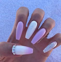 Long, Pink and White Ballerina Nails Pink and white are so cute together. Long ballerina nails are the best for showing off your nail design. Lilac Nails With Glitter, Purple And Pink Nails, Lavender Nails, Silver Nails, Rhinestone Nails, White Nails, Violet Nails, Glitter Nails, Acrylic Nails