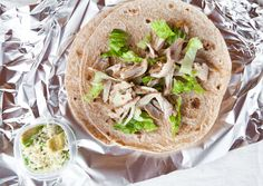 Chicken Soft Tacos Pack a container with avocados mashed with lemon juice; top with a layer of shredded Monterey Jack before sealing. Fill 2 small whole wheat tortillas with shredded rotisserie chicken and sliced romaine lettuce and store in resealable plastic bags. Assemble at lunch.