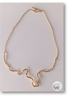 Silver twig necklace gold-plated with freshwater pearls by Mariajóias Cristina Amaro https://www.facebook.com/pages/Mariajoias-Cristina-Amaro/617451391649626