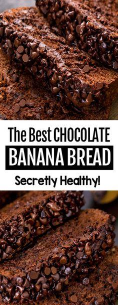 Chocolate Banana Bread, Vegan Chocolate, Chocolate Recipes, Homemade Chocolate, Delicious Chocolate, Chocolate Cake, Chocolate Chips, Chocolate Bread Recipe, Banana Bread Brownies