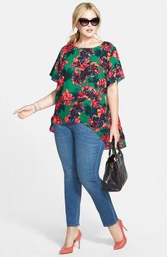 Vince Camuto 'Batik Floral' High/Low Blouse (Plus Size) | Nordstrom