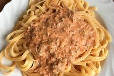 Shrimp Recipes Spaghetti with tuna cream sauce 8 Shrimp Recipes, Pasta Recipes, Beef Recipes, A Food, Food And Drink, Evening Meals, Stuffed Peppers, Dishes, Cooking