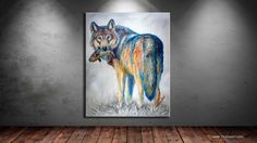 Survivor is a contemporary western wildlife painting that shows a colorful wolf carrying a fish. It is now available on TeshiaArt Collection under Fine Art. Wildlife Paintings, Wildlife Art, Acylic Painting Ideas, Walker House, Contemporary Paintings, Fine Art Prints, Original Paintings, The Originals, Canvas
