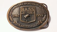 Bass Anglers Sportsman Society Anniversary Belt Buckle Brass NEW/Unworn Brass Belt Buckles, 25th Anniversary, Solid Brass, Bass, Personalized Items, My Style, Link, Clothing, Accessories