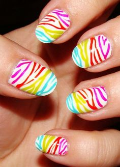 Zebra Print Nails Design, Colorful zebra-stripe nails for girls, Zebra Print Nails Art in 2013 Fall/Winter Zebra Nail Designs, Nail Designs 2014, Pedicure Designs, Pretty Nail Designs, Nails Design, Tiger Nail Art, Zebra Nail Art, Tiger Nails, Zebra Stripe Nails