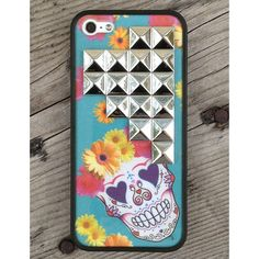 Floral Skull Silver Studded Pyramid iPhone 5 Case ❤ liked on Polyvore featuring accessories, tech accessories, phone cases, iphone case, silver iphone case, apple iphone cases, floral iphone case and iphone cover case