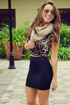 Leopard Blouse, Black Mini Skirt With Scarf Cute Outfit