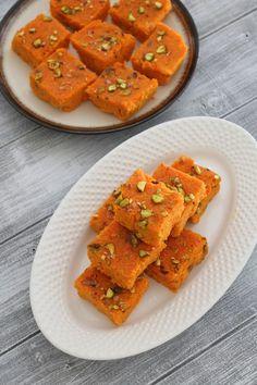 Carrot burfi recipe is the modified version of the popular gajar ka halwa. This gajar ki burfi is made from carrot, cream, condensed milk and khoya.