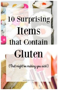 10 Surprising Items that Contain Gluten - MsModify - Manufacturers often add gluten to products as a stabilizer and thickener. You may be surprised to learn that many of these products, some non-food, contain hidden sources of gluten. Foods With Gluten, Gluten Free Desserts, Gluten Free Recipes, Gf Recipes, Budget Recipes, Recipies, Foods That Contain Gluten, Gluten Free Food List, Wheat Free Recipes