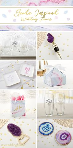This elements collection is just the thing, with its geode and marble design inspiration adorning coasters, bottle stoppers, pyramid favor boxes, glassware, and gift bags. Your guests are bound to fall in love with these gems!  | Geode Inspired Wedding Favors | Elements Collection | My Wedding Favors