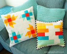 Samelia's Mum created these pretty pillows for Riley Blake Designs' Quilt It…