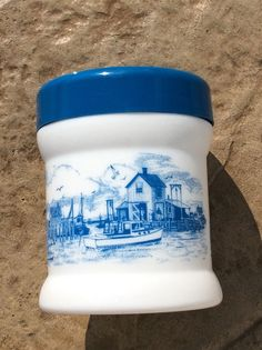 Vintage Aqua Blue 3 Humidor Milk Glass by YellowHouseDecor on Etsy